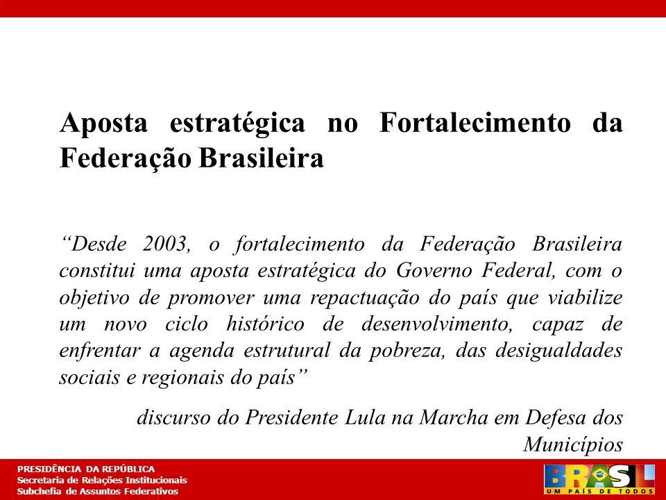 Aposta estratégica no Fortalecimento da Federação Brasileira