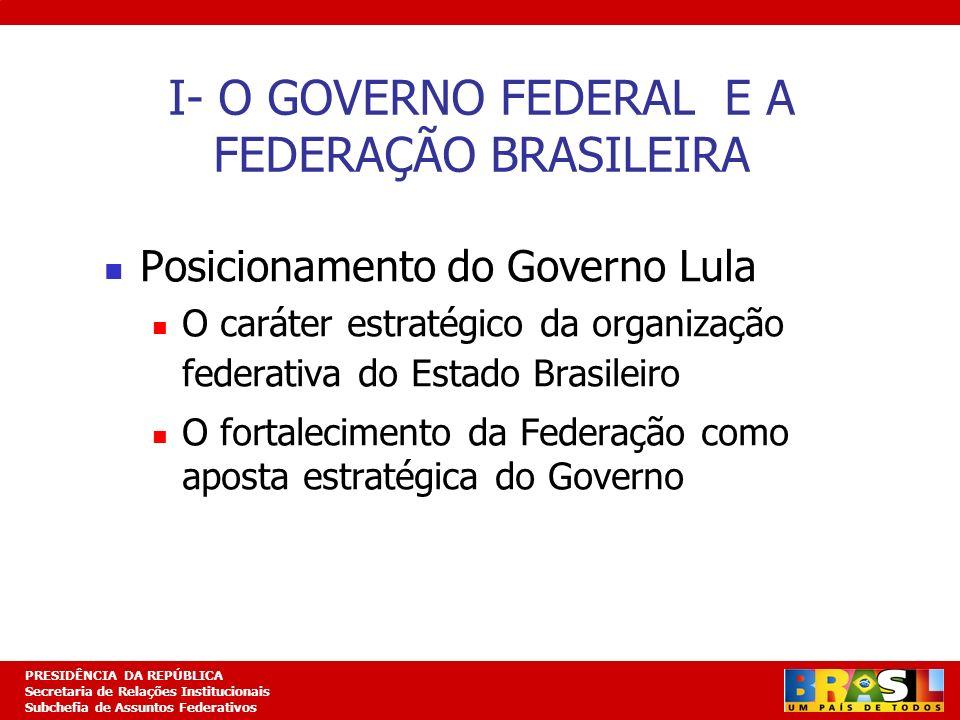 I- O GOVERNO FEDERAL E A FEDERAÇÃO BRASILEIRA