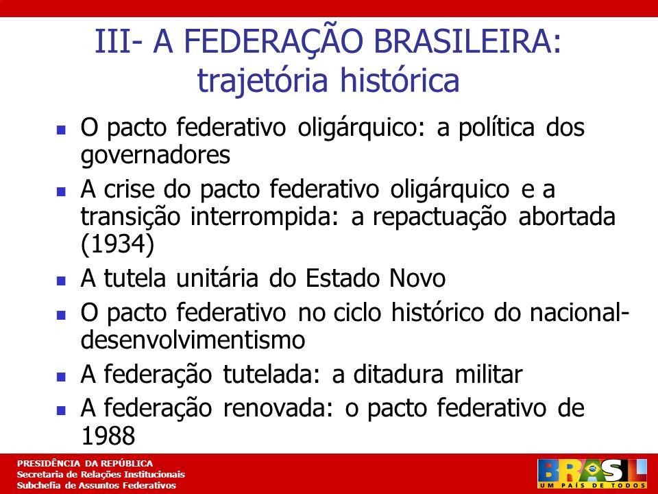 III- A FEDERAÇÃO BRASILEIRA: trajetória histórica