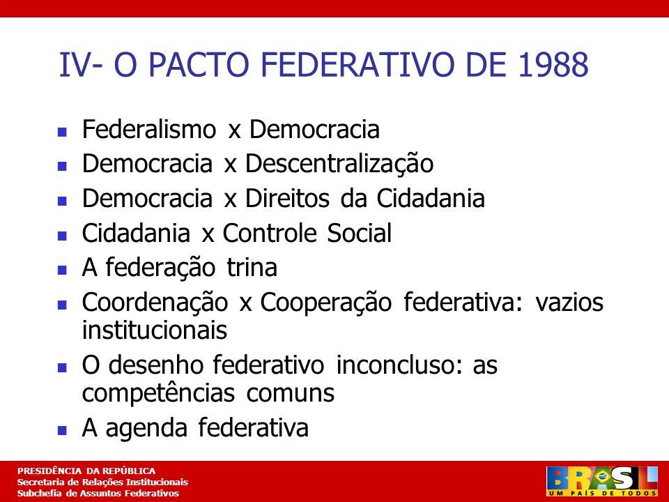 IV- O PACTO FEDERATIVO DE 1988