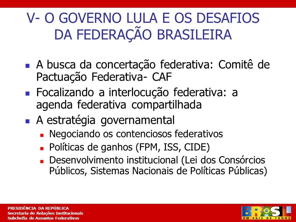 V- O GOVERNO LULA E OS DESAFIOS DA FEDERAÇÃO BRASILEIRA