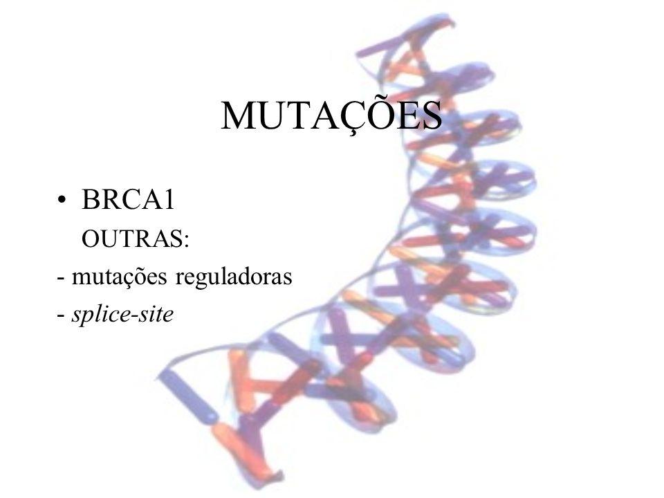 MUTAÇÕES BRCA1 OUTRAS: - mutações reguladoras - splice-site