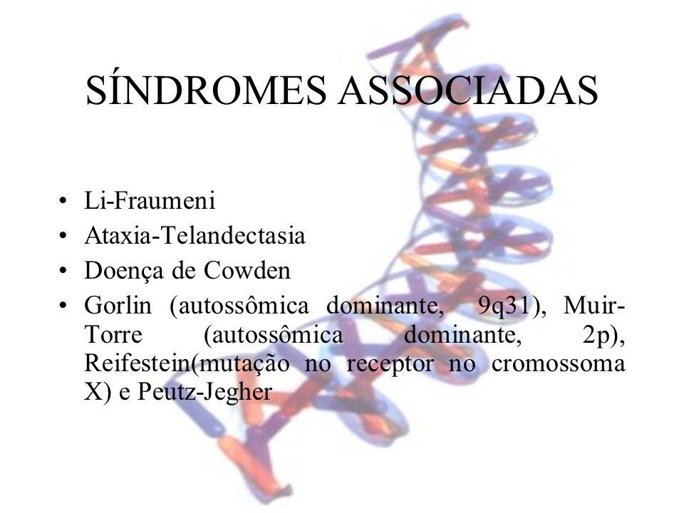 SÍNDROMES ASSOCIADAS Li-Fraumeni Ataxia-Telandectasia Doença de Cowden