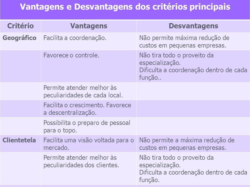 Vantagens e Desvantagens dos critérios principais