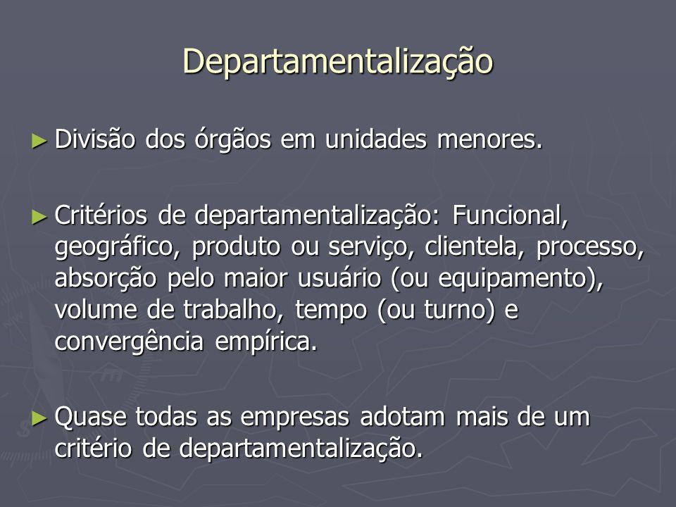 Departamentalização Divisão dos órgãos em unidades menores.