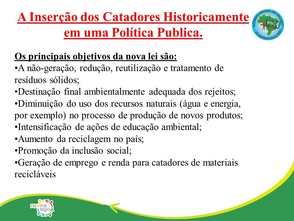 A Inserção dos Catadores Historicamente em uma Política Publica.
