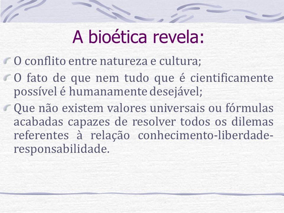 A bioética revela: O conflito entre natureza e cultura;