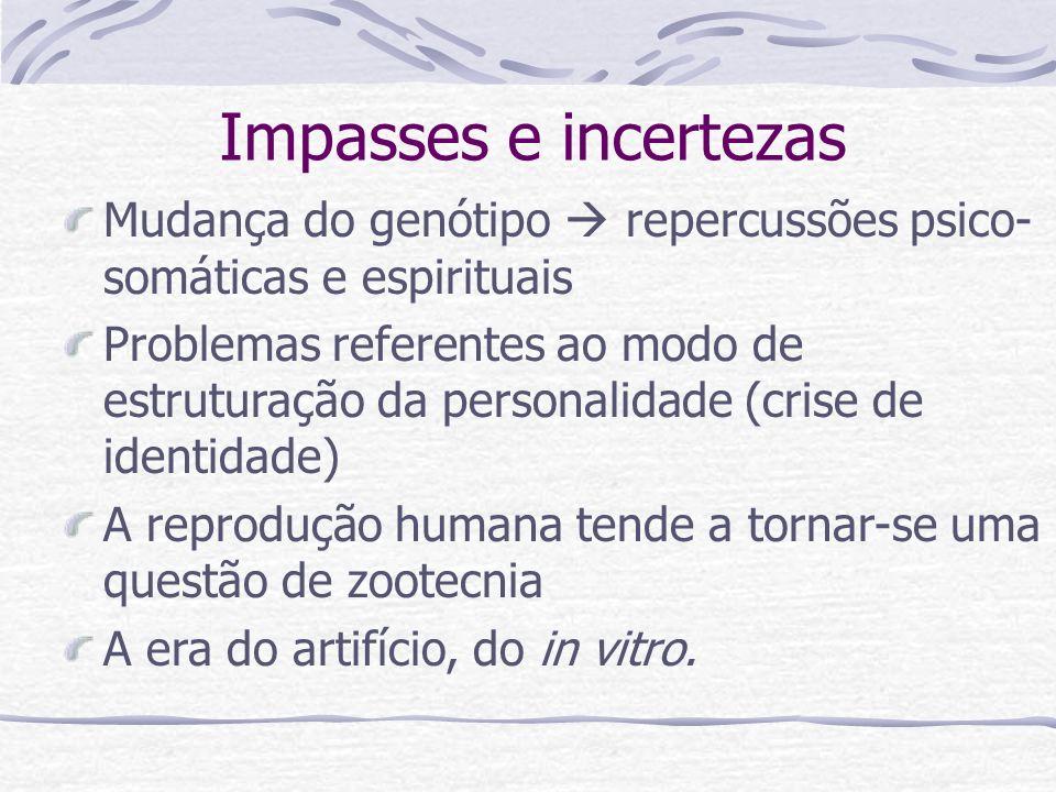 Impasses e incertezasMudança do genótipo  repercussões psico-somáticas e espirituais.