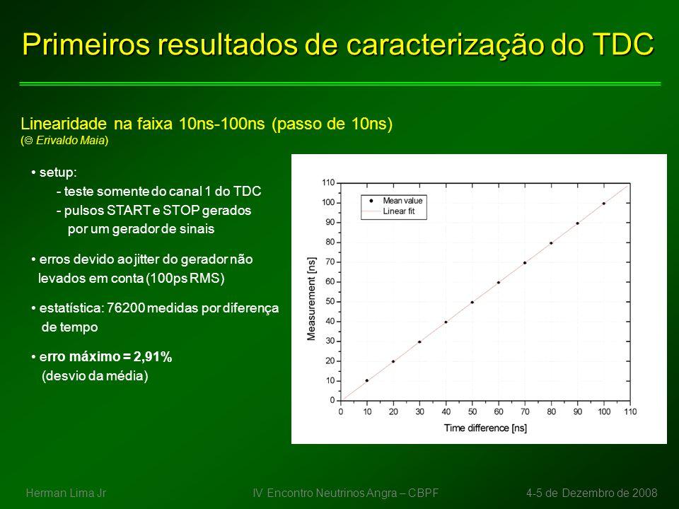 Primeiros resultados de caracterização do TDC