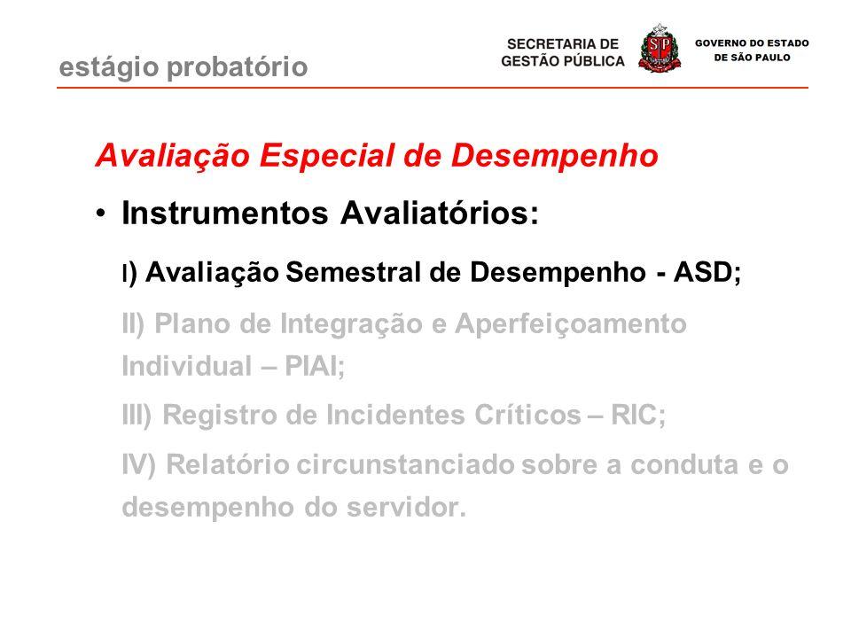 Avaliação Especial de Desempenho Instrumentos Avaliatórios:
