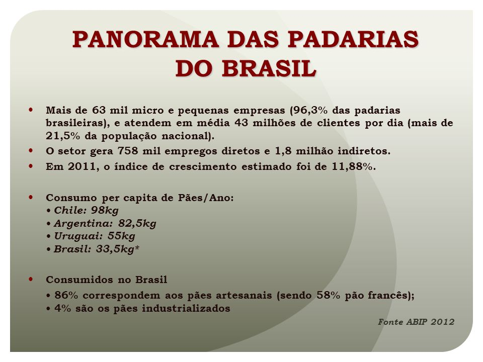 PANORAMA DAS PADARIAS DO BRASIL