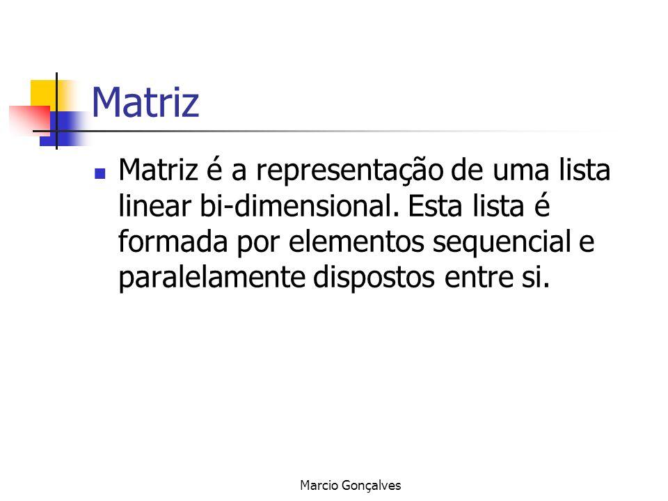 Matriz Matriz é a representação de uma lista linear bi-dimensional. Esta lista é formada por elementos sequencial e paralelamente dispostos entre si.