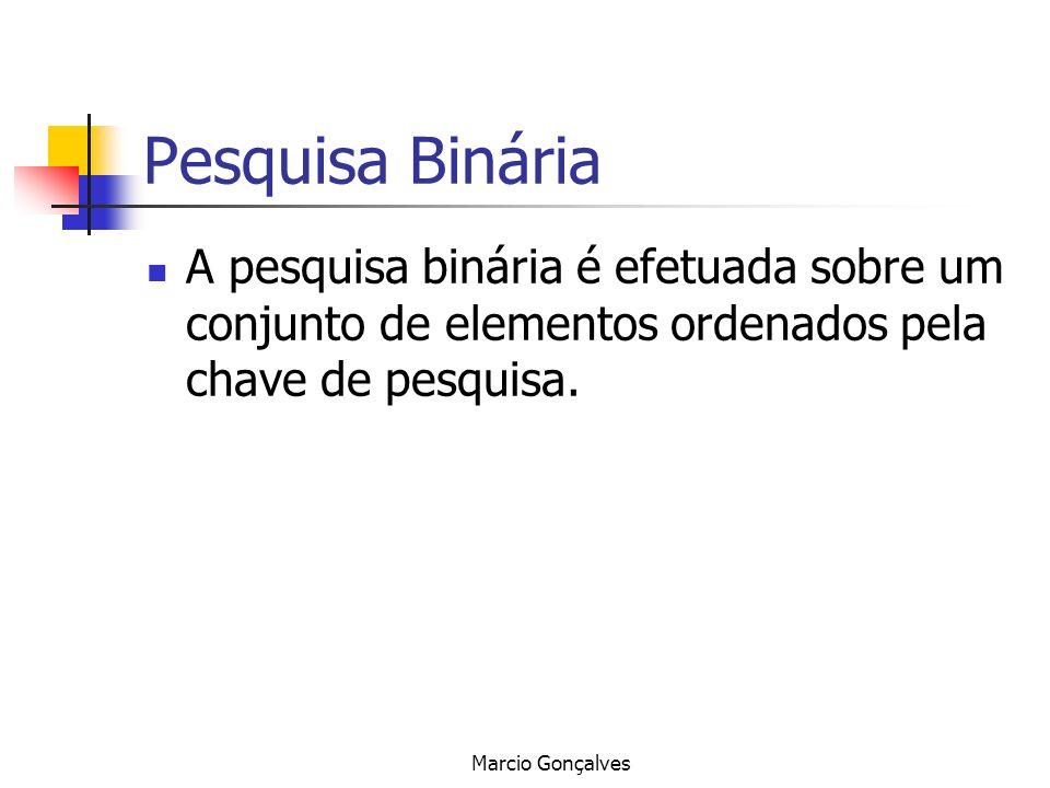 Pesquisa Binária A pesquisa binária é efetuada sobre um conjunto de elementos ordenados pela chave de pesquisa.