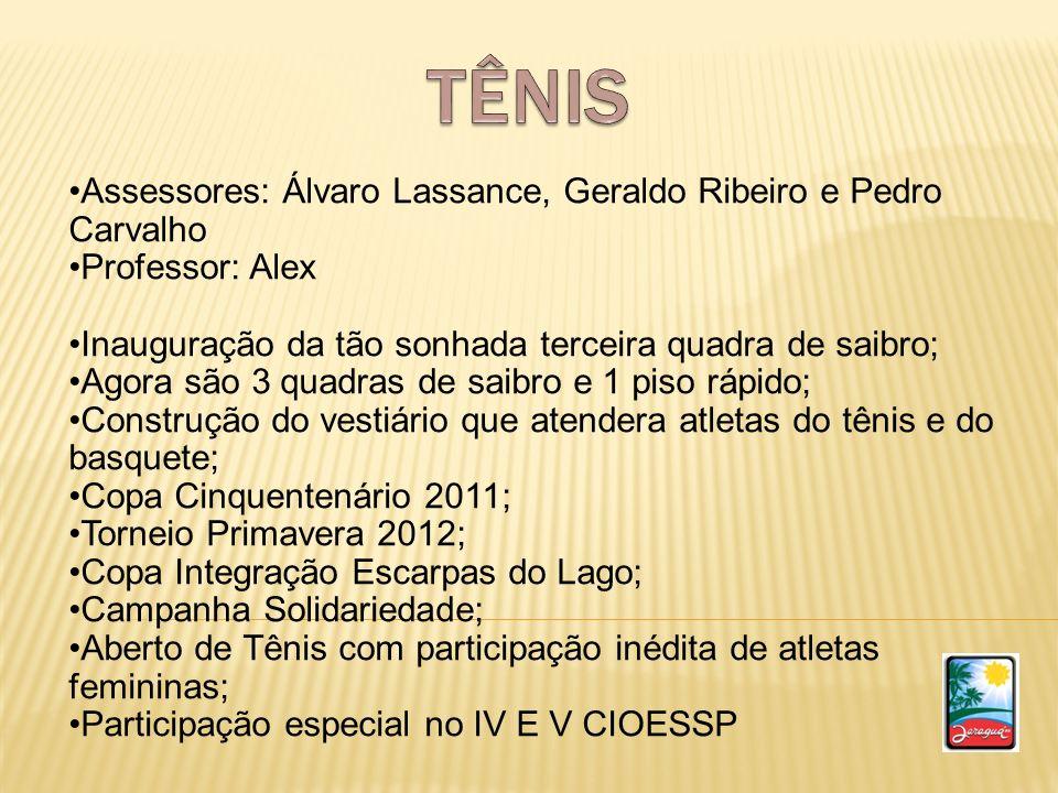 TÊNIS Assessores: Álvaro Lassance, Geraldo Ribeiro e Pedro Carvalho