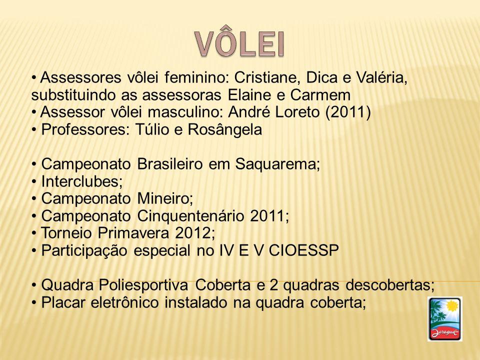 VÔLEI Assessores vôlei feminino: Cristiane, Dica e Valéria, substituindo as assessoras Elaine e Carmem.
