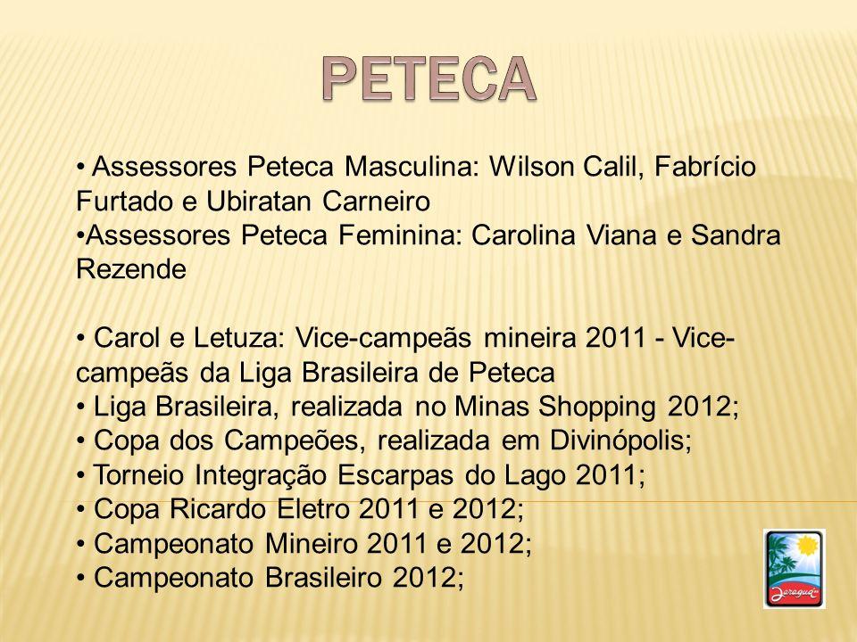 PETECAAssessores Peteca Masculina: Wilson Calil, Fabrício Furtado e Ubiratan Carneiro. Assessores Peteca Feminina: Carolina Viana e Sandra Rezende.