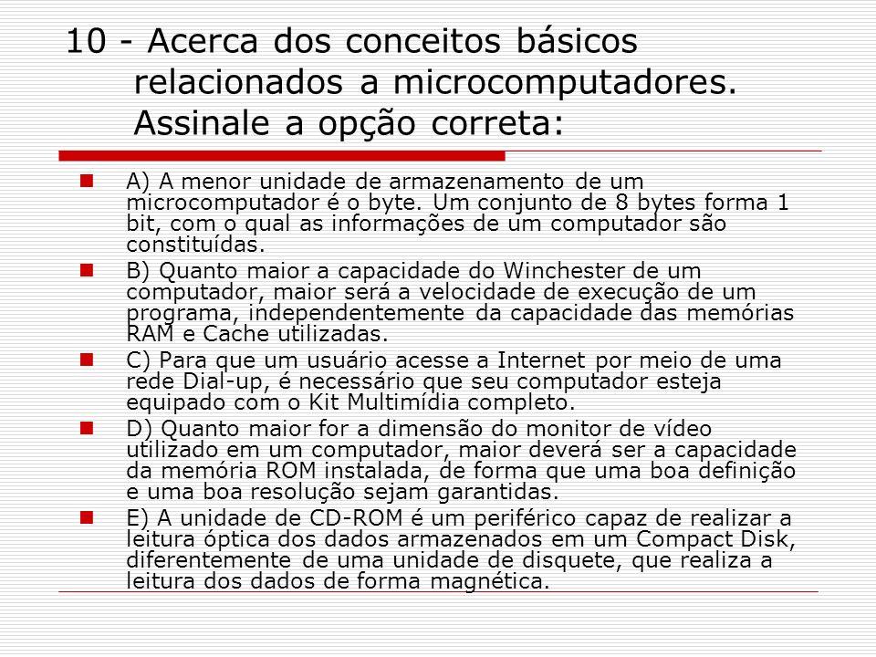 10 - Acerca dos conceitos básicos relacionados a microcomputadores