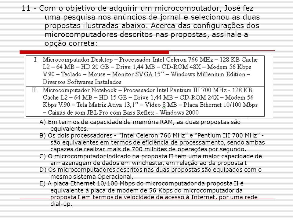 11 - Com o objetivo de adquirir um microcomputador, José fez uma pesquisa nos anúncios de jornal e selecionou as duas propostas ilustradas abaixo. Acerca das configurações dos microcomputadores descritos nas propostas, assinale a opção correta: