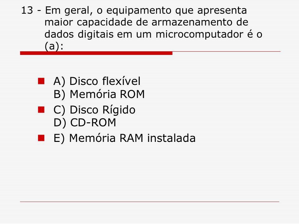 A) Disco flexível B) Memória ROM C) Disco Rígido D) CD-ROM