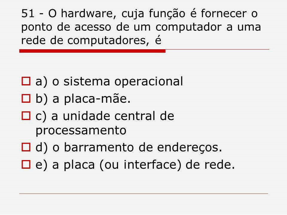 a) o sistema operacional b) a placa-mãe.