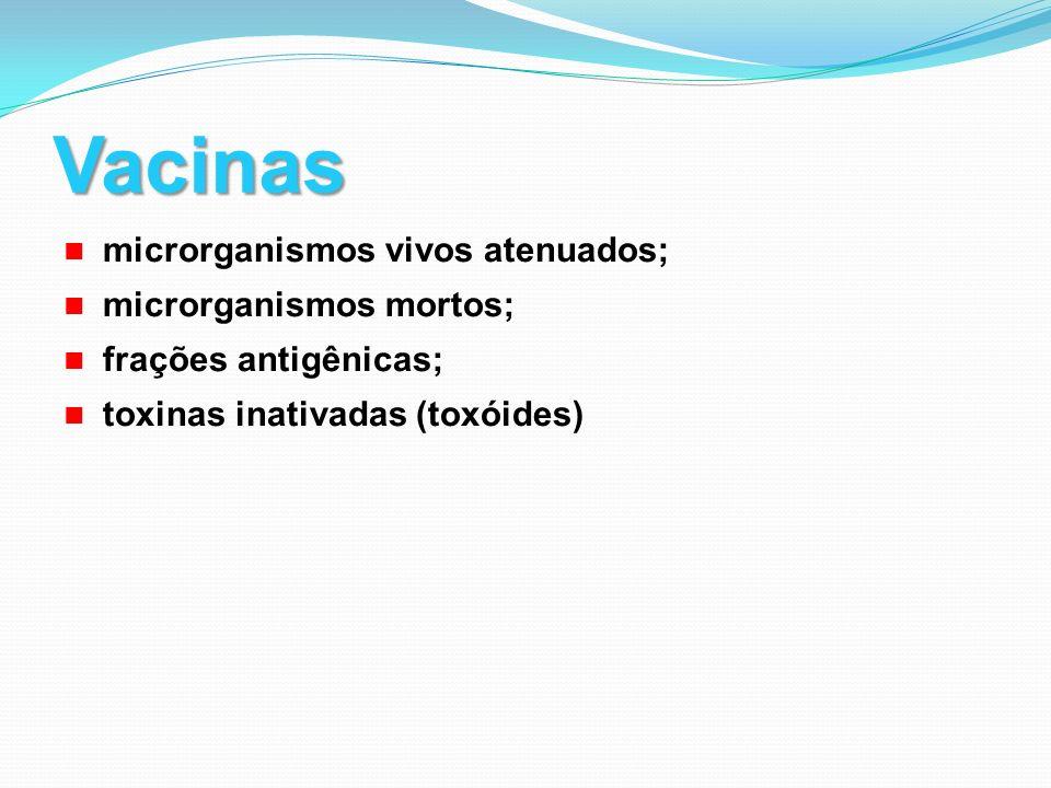Vacinas microrganismos vivos atenuados; microrganismos mortos;
