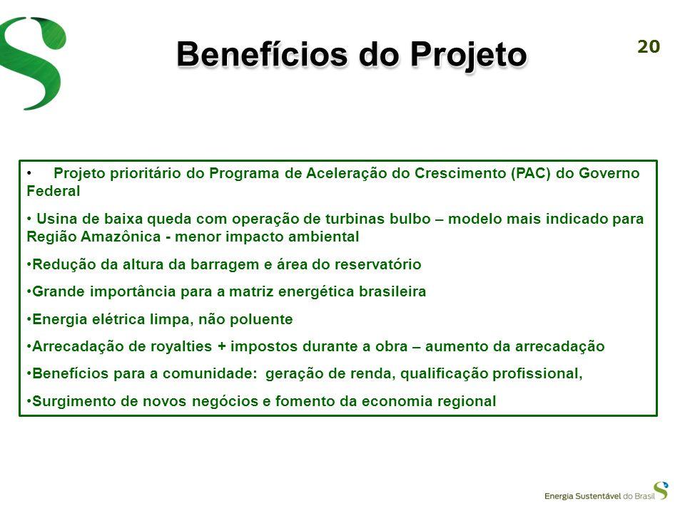 Benefícios do Projeto Projeto prioritário do Programa de Aceleração do Crescimento (PAC) do Governo Federal.