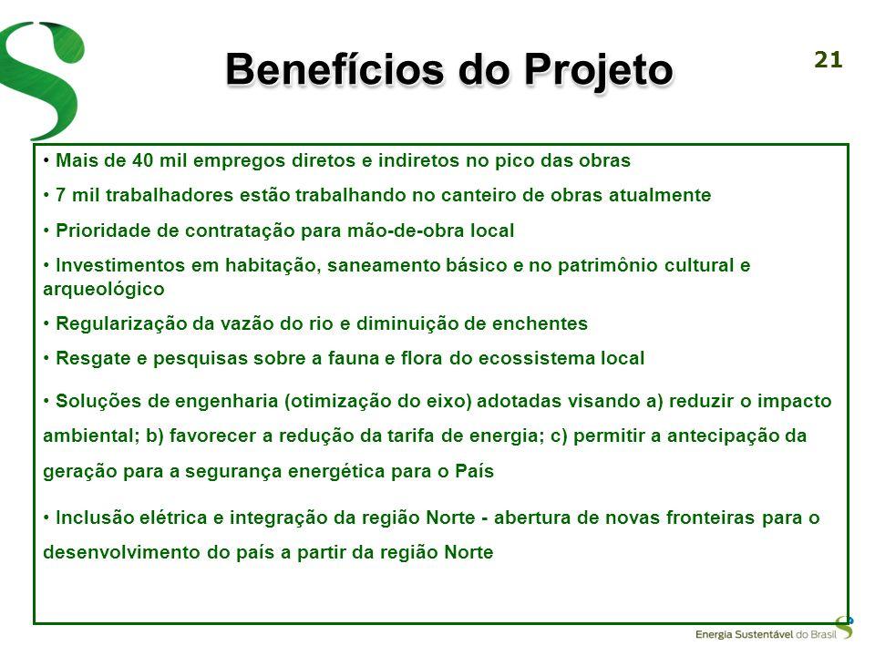 Benefícios do ProjetoMais de 40 mil empregos diretos e indiretos no pico das obras.