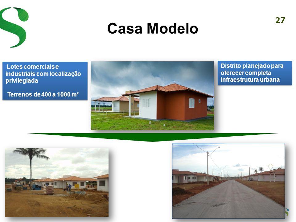 Casa ModeloLotes comerciais e industriais com localização privilegiada. Terrenos de 400 a 1000 m².