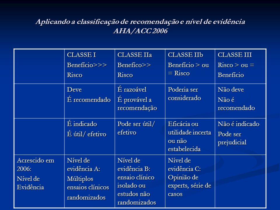 Aplicando a classificação de recomendação e nível de evidência AHA/ACC 2006