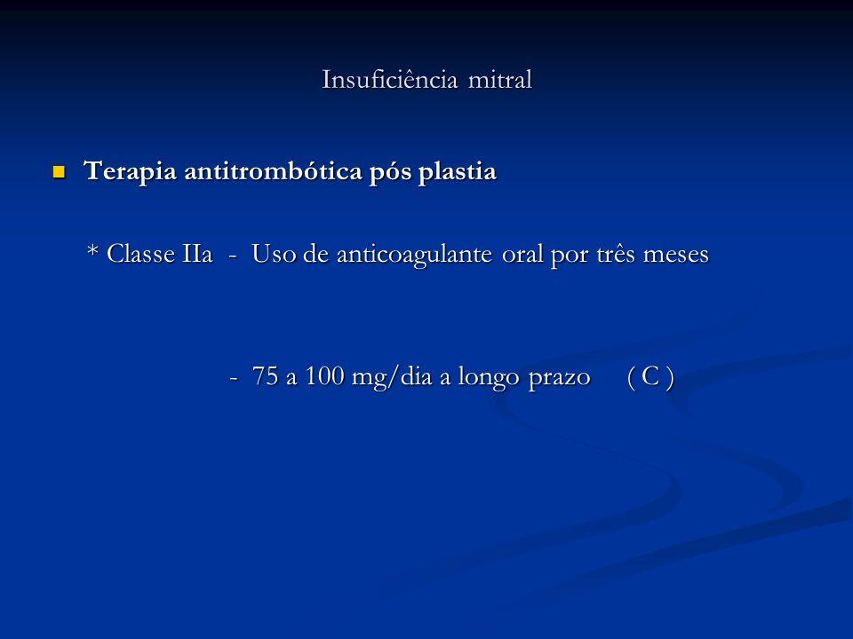 Insuficiência mitral Terapia antitrombótica pós plastia. * Classe IIa - Uso de anticoagulante oral por três meses.
