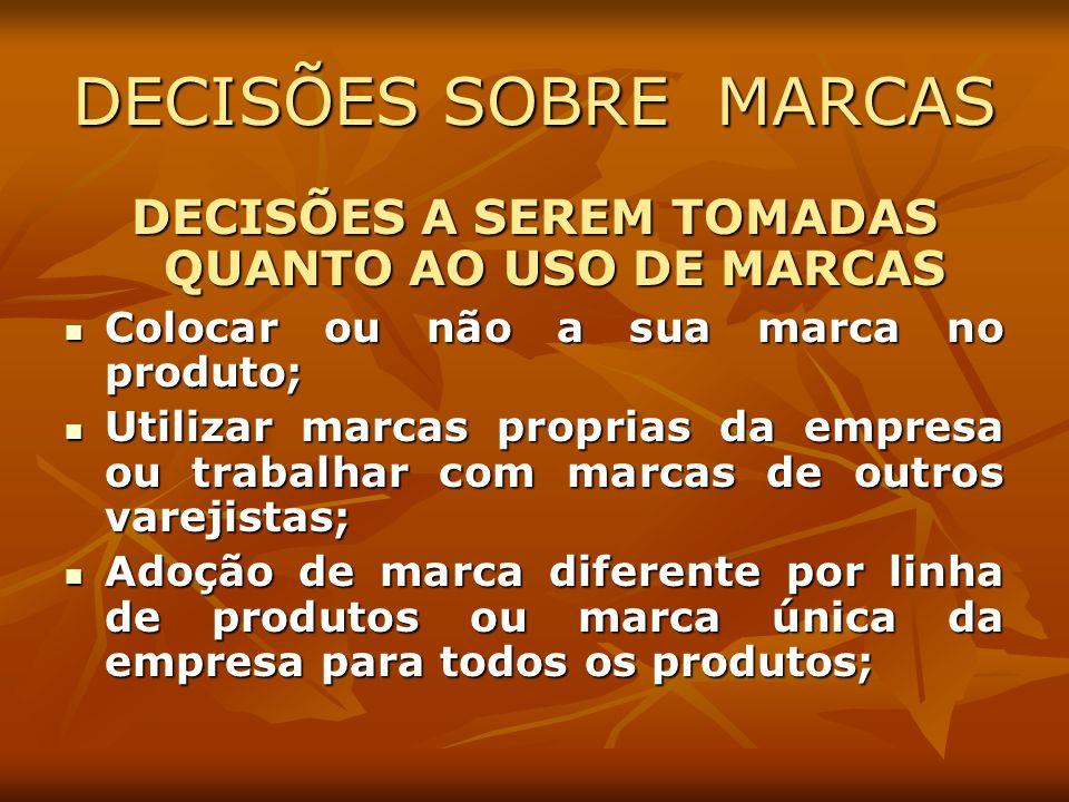 DECISÕES A SEREM TOMADAS QUANTO AO USO DE MARCAS