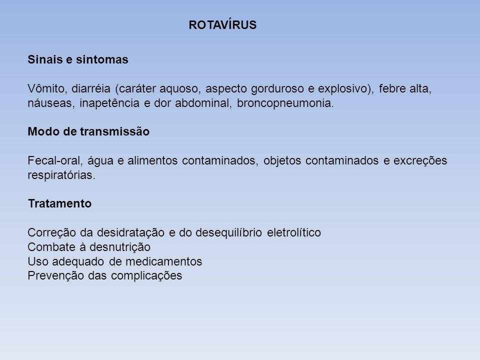 DIFTERIA ROTAVÍRUS. Sinais e sintomas.