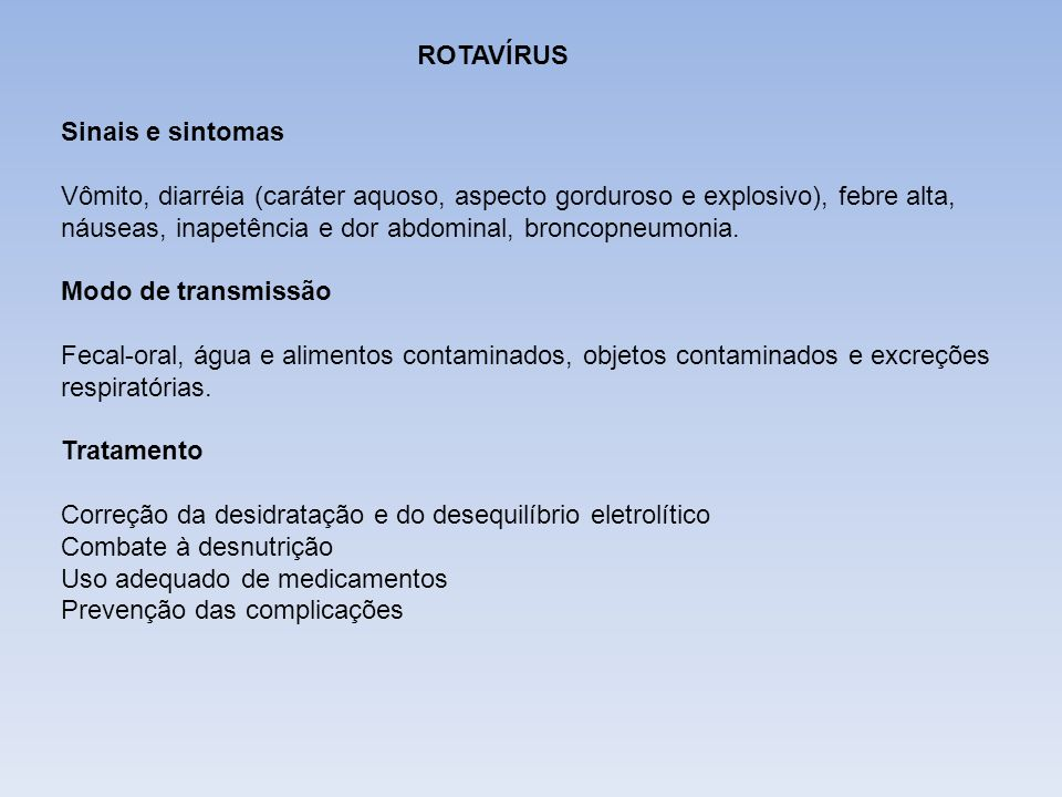 DIFTERIAROTAVÍRUS. Sinais e sintomas.