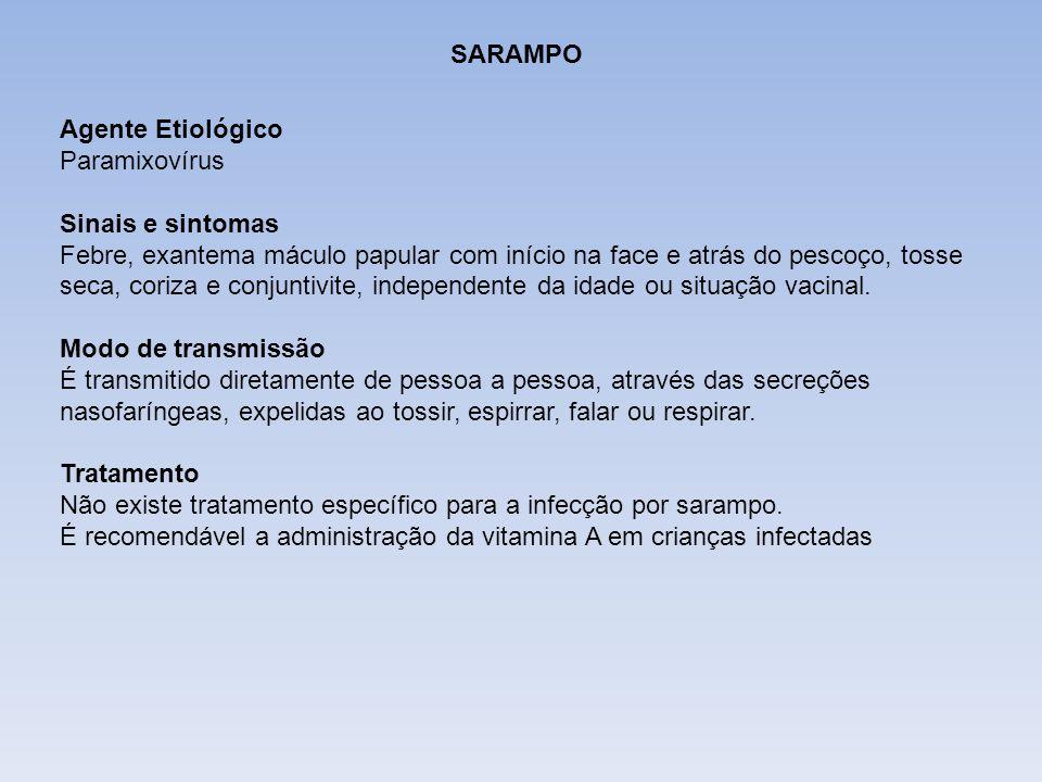 DIFTERIASARAMPO. Agente Etiológico. Paramixovírus.