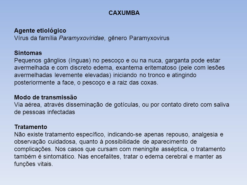 DIFTERIA CAXUMBA. Agente etiológico Vírus da família Paramyxoviridae, gênero Paramyxovirus. Sintomas.