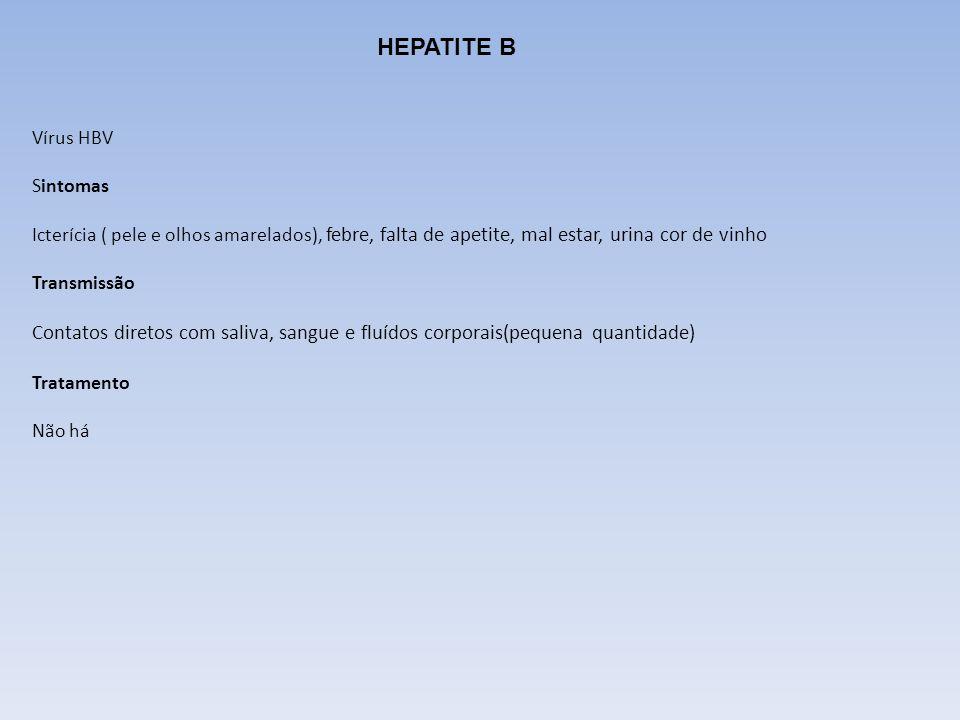 HEPATITE B Vírus HBV Sintomas