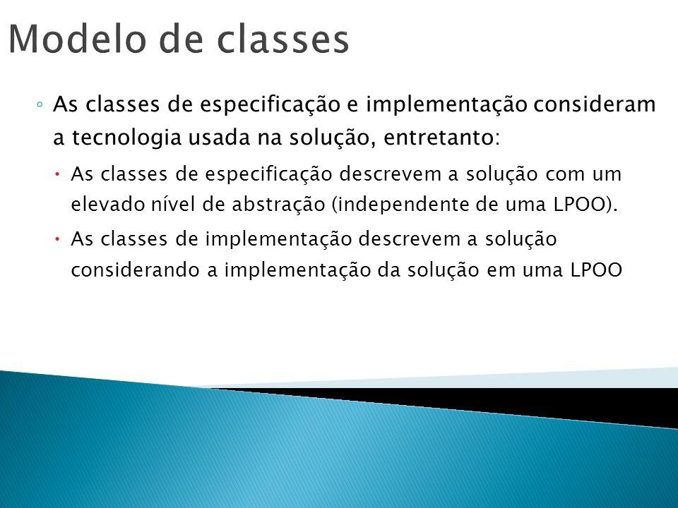 Modelo de classes As classes de especificação e implementação consideram a tecnologia usada na solução, entretanto:
