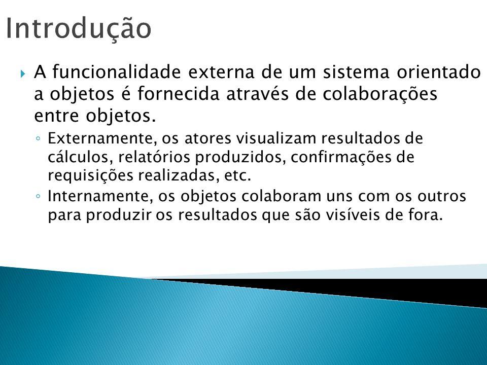 Introdução A funcionalidade externa de um sistema orientado a objetos é fornecida através de colaborações entre objetos.
