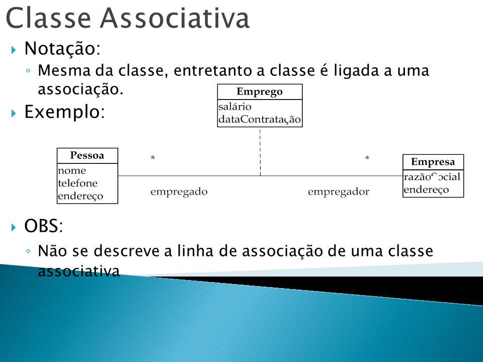 Classe Associativa Notação: Exemplo: OBS: