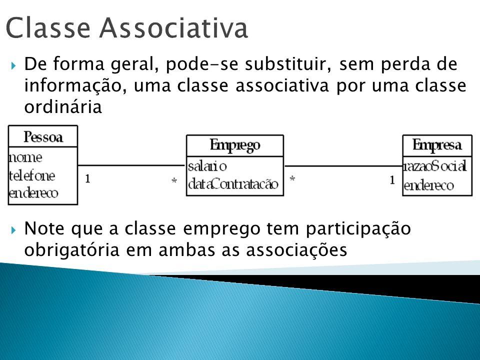 Classe Associativa De forma geral, pode-se substituir, sem perda de informação, uma classe associativa por uma classe ordinária.