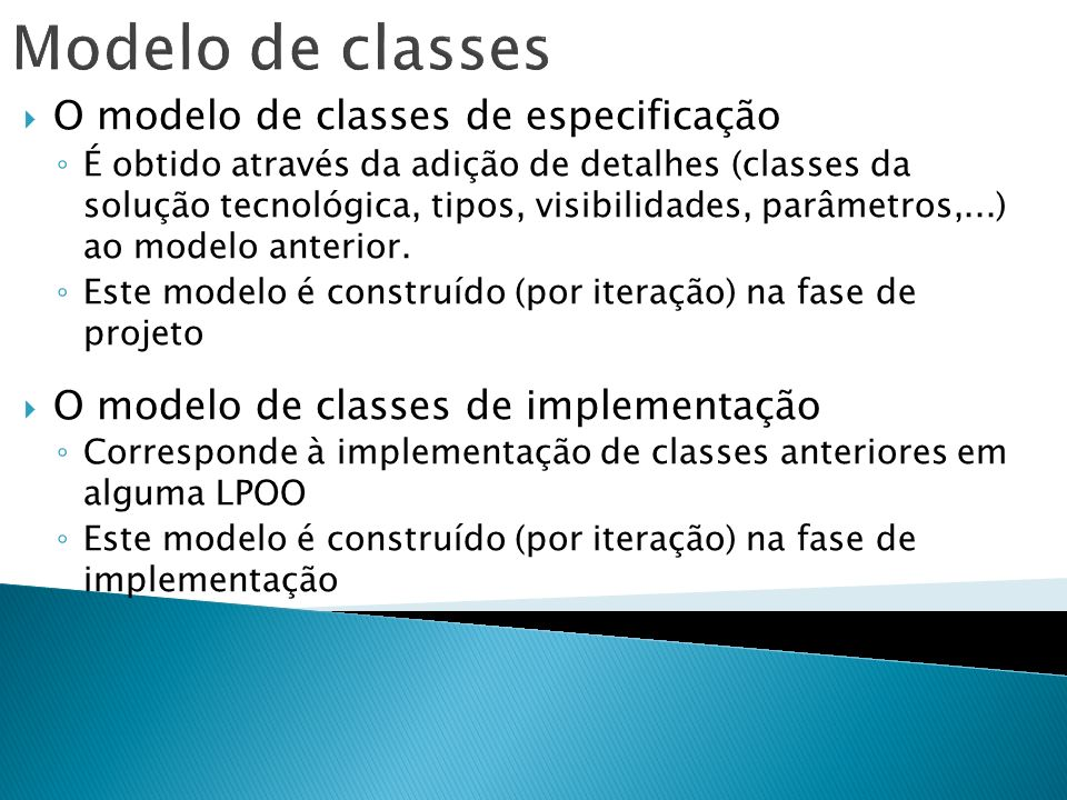 Modelo de classes O modelo de classes de especificação