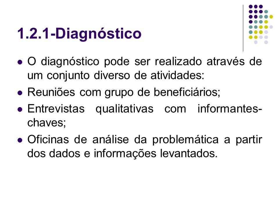 1.2.1-DiagnósticoO diagnóstico pode ser realizado através de um conjunto diverso de atividades: Reuniões com grupo de beneficiários;