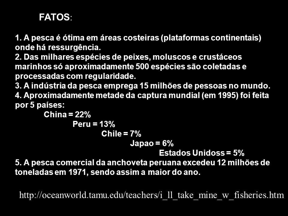 FATOS: 1. A pesca é ótima em áreas costeiras (plataformas continentais) onde há ressurgência.