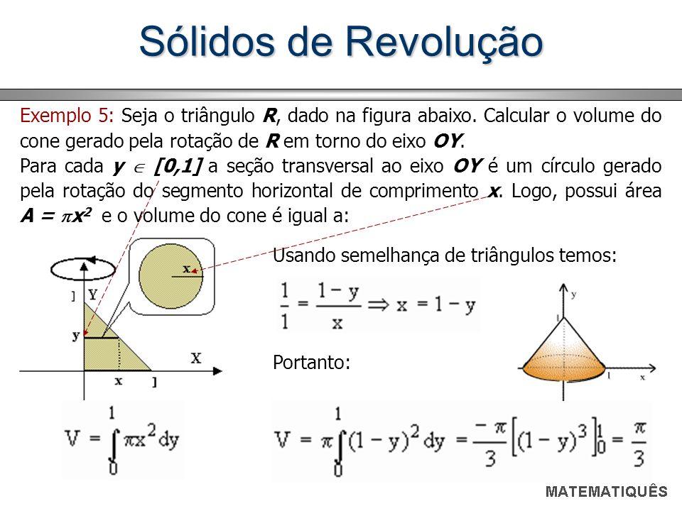Sólidos de Revolução Exemplo 5: Seja o triângulo R, dado na figura abaixo. Calcular o volume do cone gerado pela rotação de R em torno do eixo OY.