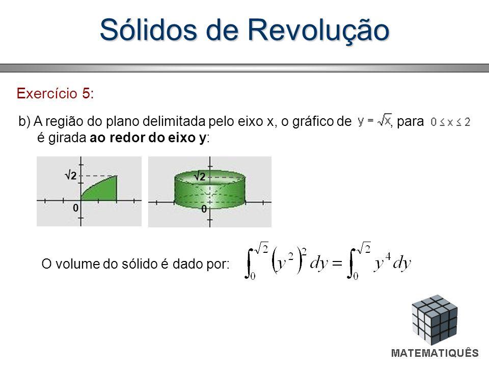 Sólidos de Revolução Exercício 5: