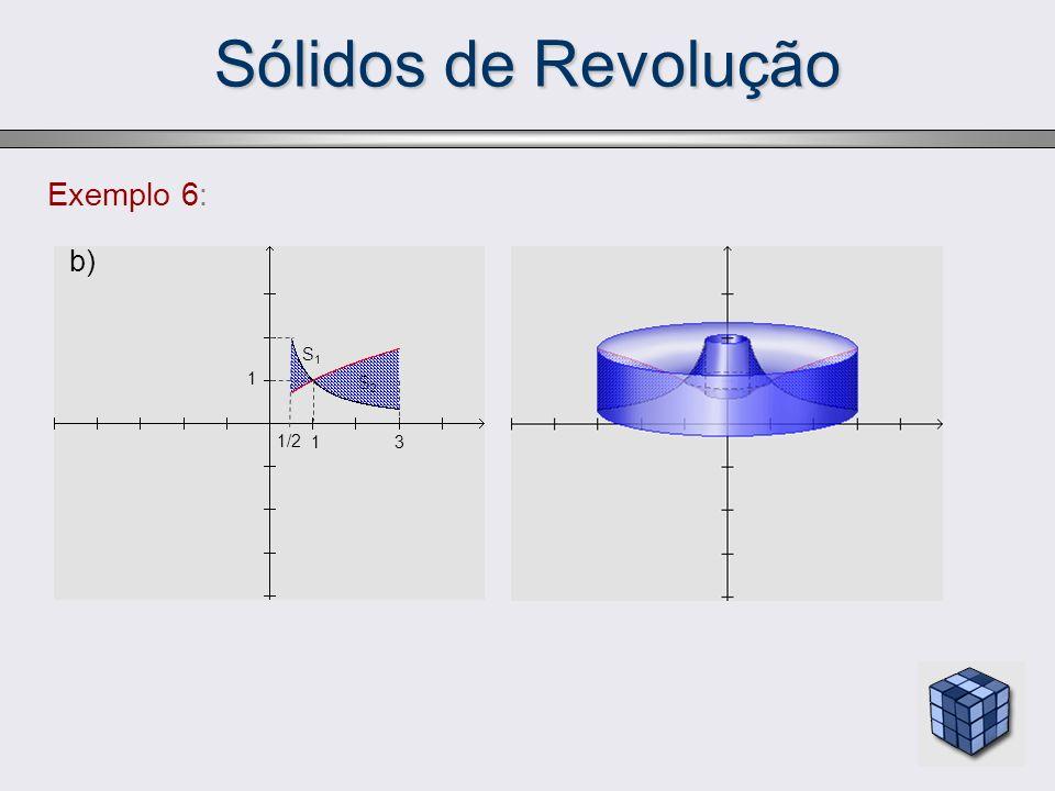Sólidos de Revolução Exemplo 6: b) S1 1 S2 1/2 1 3