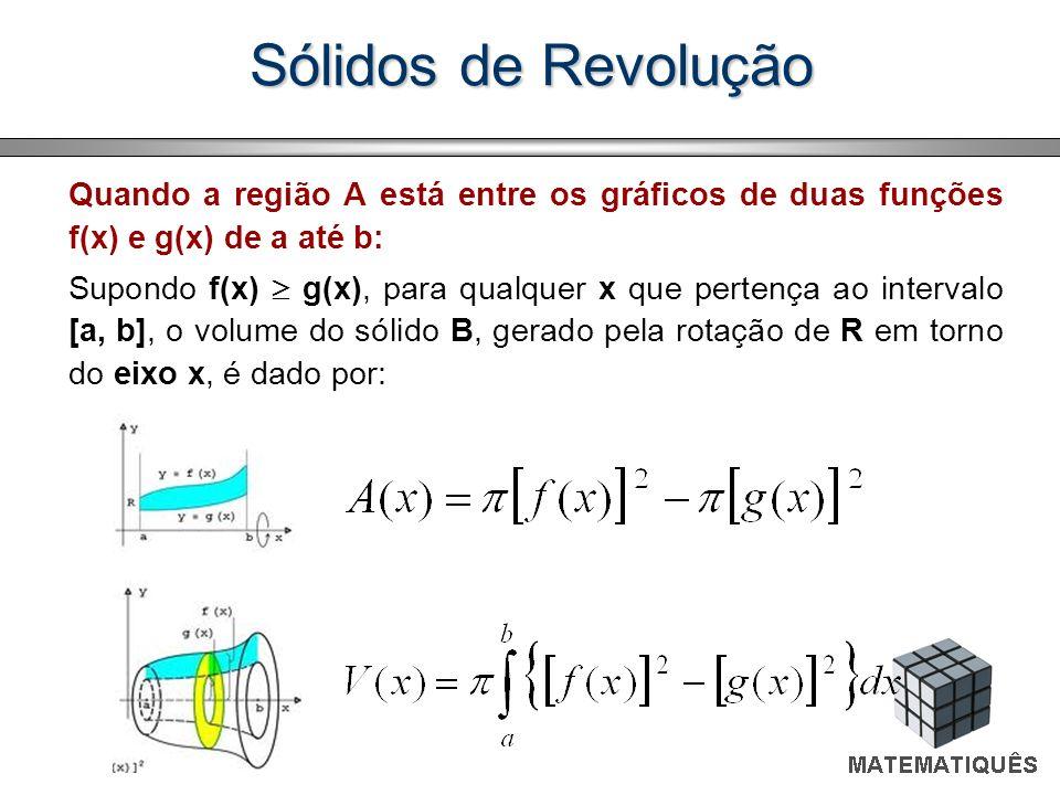 Sólidos de Revolução Quando a região A está entre os gráficos de duas funções f(x) e g(x) de a até b: