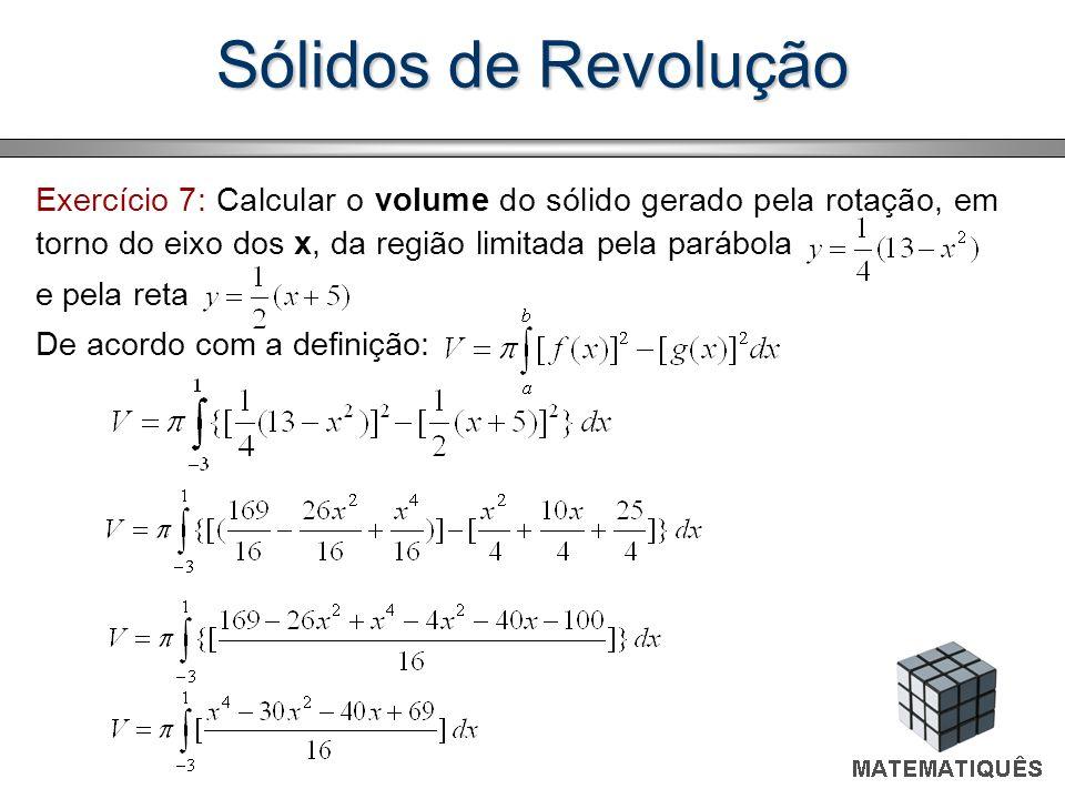Sólidos de Revolução Exercício 7: Calcular o volume do sólido gerado pela rotação, em torno do eixo dos x, da região limitada pela parábola.