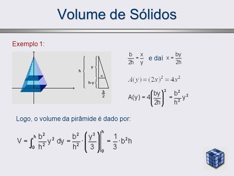 Volume de Sólidos Exemplo 1: e daí