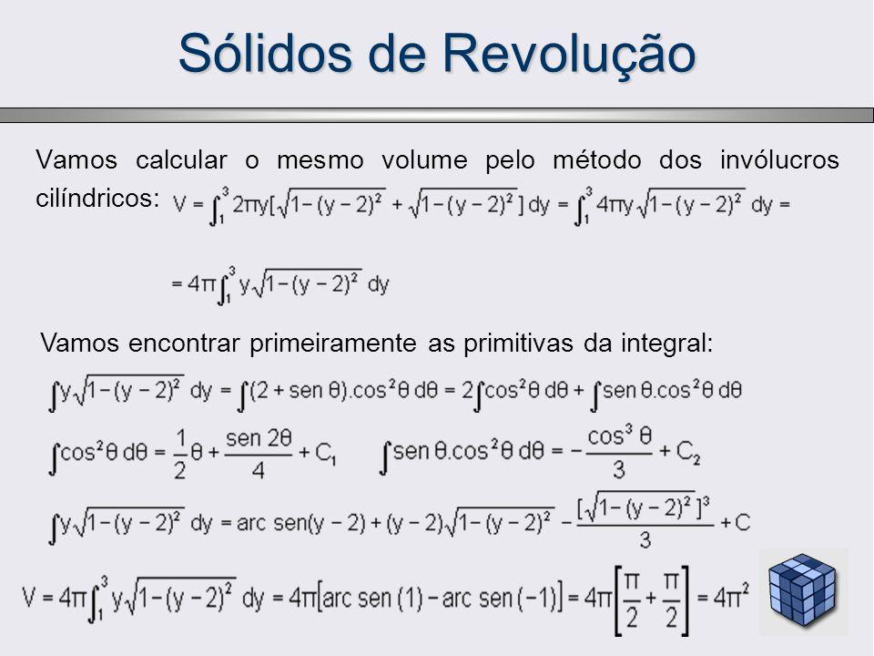 Sólidos de RevoluçãoVamos calcular o mesmo volume pelo método dos invólucros cilíndricos: Vamos encontrar primeiramente as primitivas da integral:
